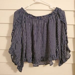Navy and white striped off the shoulder blouse.